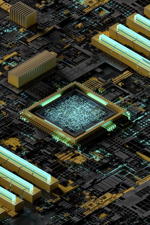 Umelecká fotografie Details of board and cpu in blue color lights series 1