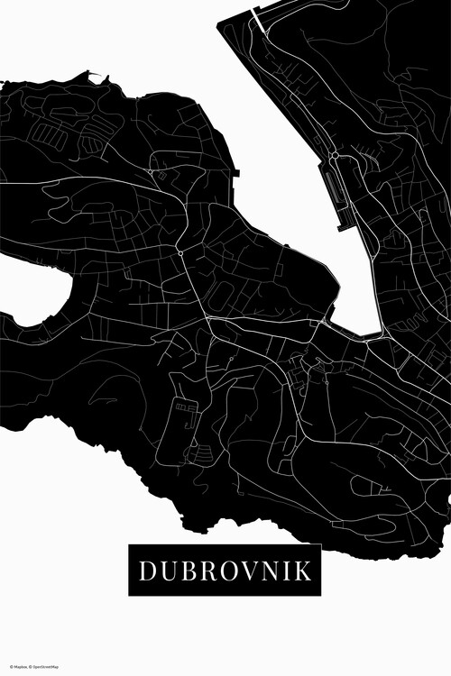 Mapa Dubrovnik black