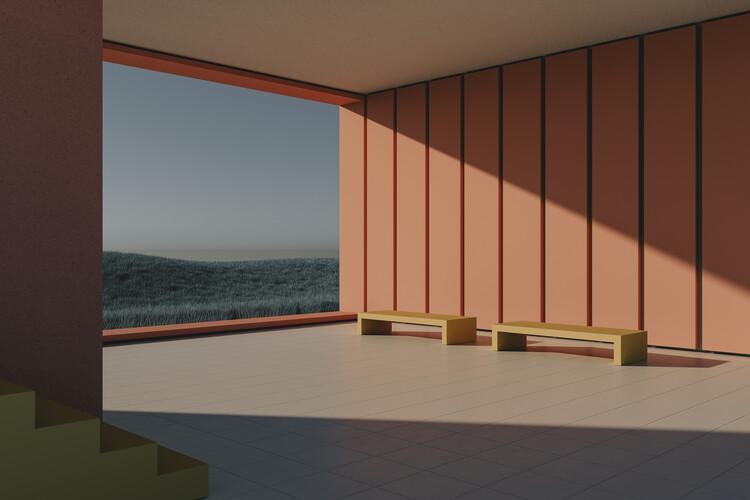 Umjetnička fotografija Empty architecture space with blue cereal fields series  2