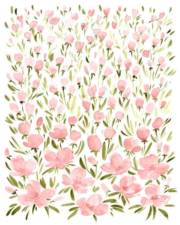 Ilustracja Field of pink watercolor flowers