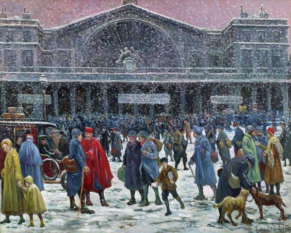 Reproducción de arte  Gare de l'Est Under Snow, 1917