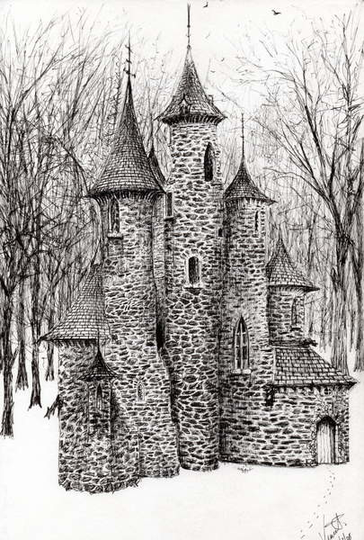 Reprodukcja Gatehouse of The Castle in the forest of Findhorn, 2006,
