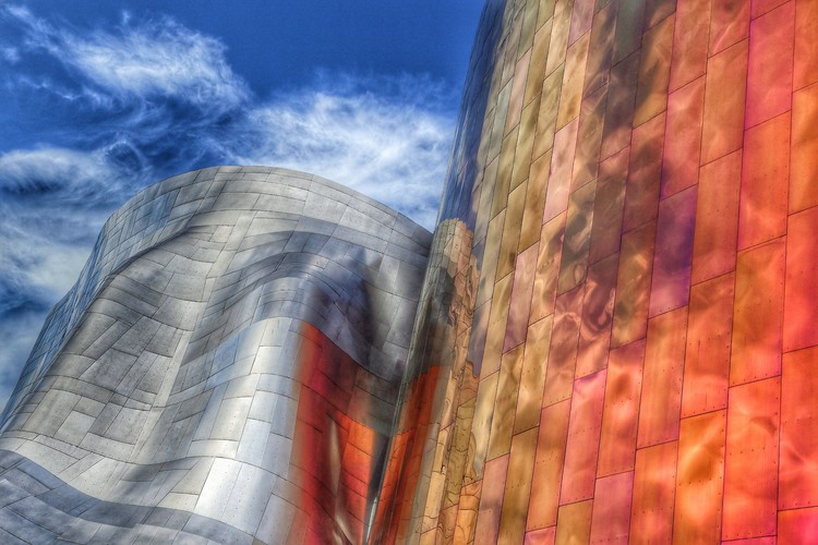 Arte fotográfico Gehry architecture  Seattle  Washington USA
