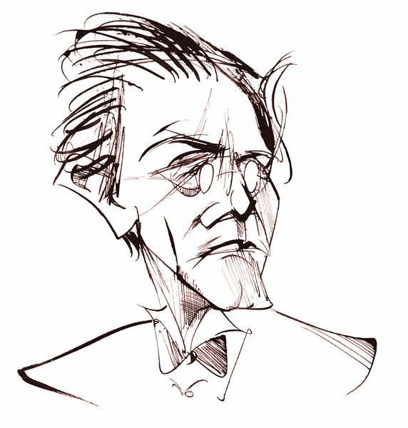 Reprodukcja Gustav Mahler, Austrian composer , sepia line caricature