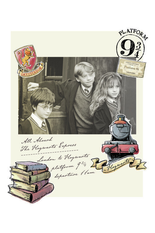 Plakat Harry Potter - Hermine, Harry og Ronny