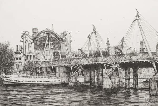Reproducción de arte Hungerford Bridge London, 2006,