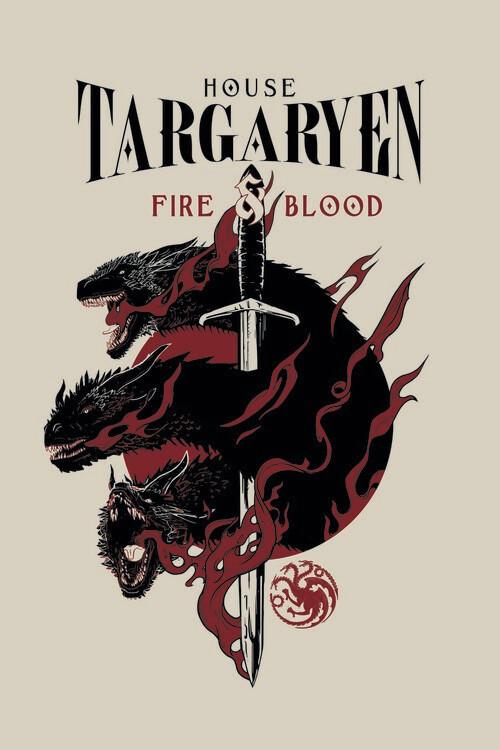 Poster Igra prestolov - House Targaryen