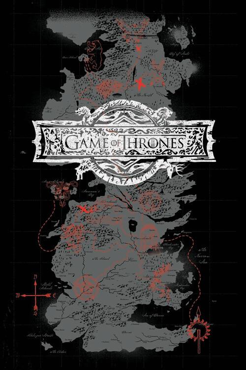 Poster Igra prestolov - Zemljevid