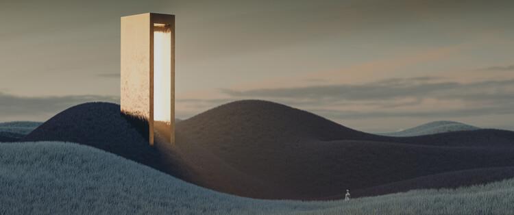 Fotografia artystyczna Landscape with a tower emiting light series 6