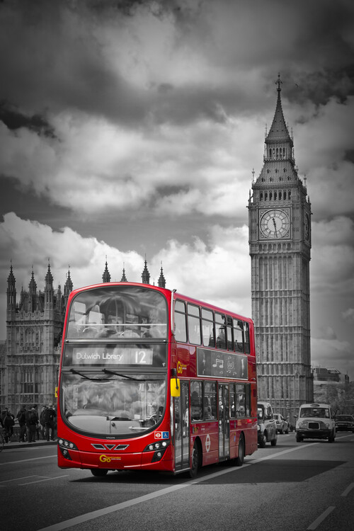 Umělecká fotografie LONDON Houses Of Parliament & Red Bus
