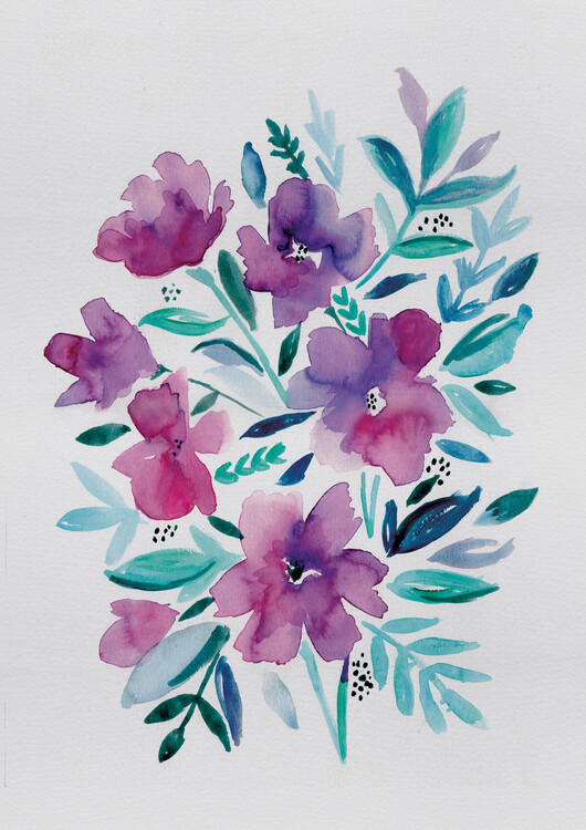 Arte fotográfico Loose pink floral watercolour