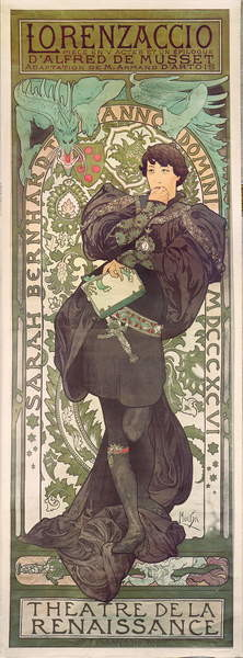 """""""Lorenzaccio"""", with Sarah Bernhardt, at the Renaissance at the Théâtre de la Renaissance (poster), 1896 Obrazová reprodukcia"""