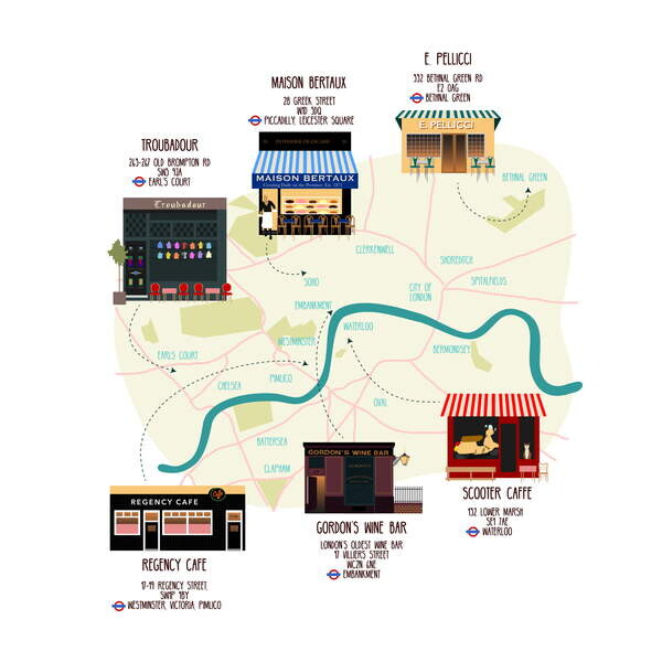 Obrazová reprodukce Map of Unique London Eateries and Bars