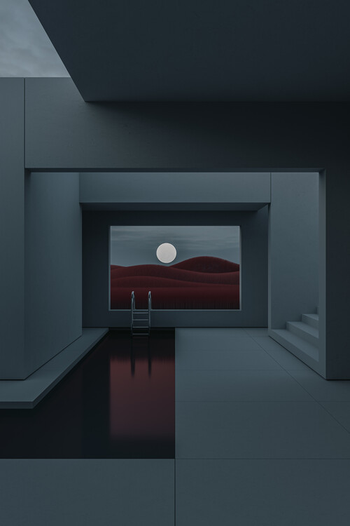 Umjetnička fotografija Minimal interior with a red field at night series 2