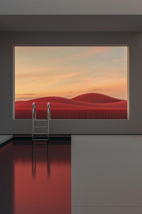 Umjetnička fotografija Minimal interior with a red field at sunset series 1
