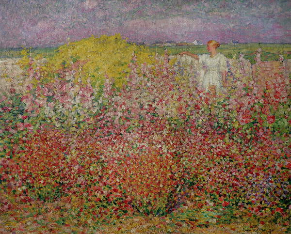 Mrs. Russell Amongst the Flowers at Belle Isle, 1927 Reproduction de Tableau