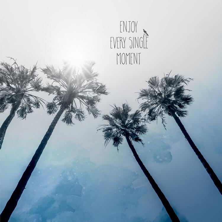 Konstfotografering Palm Trees Classic Blue
