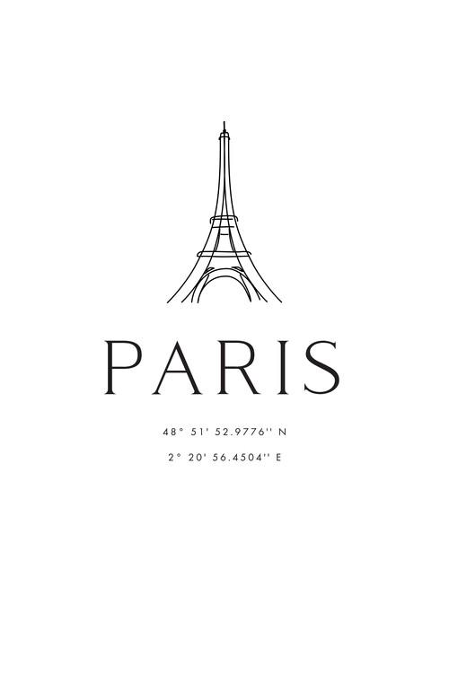 Ilustracja Paris coordinates with Eiffel Tower