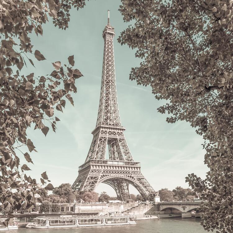 Umetniška fotografija PARIS Eiffel Tower & River Seine | urban vintage style