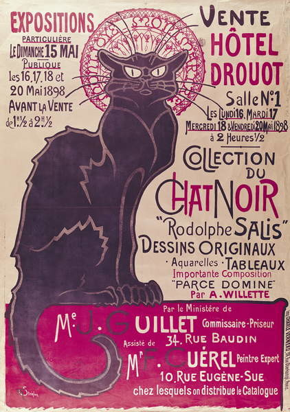 Obraz na plátně Poster advertising an exhibition of the 'Collection du Chat Noir' cabaret at the Hotel Drouot, Paris, May 1898