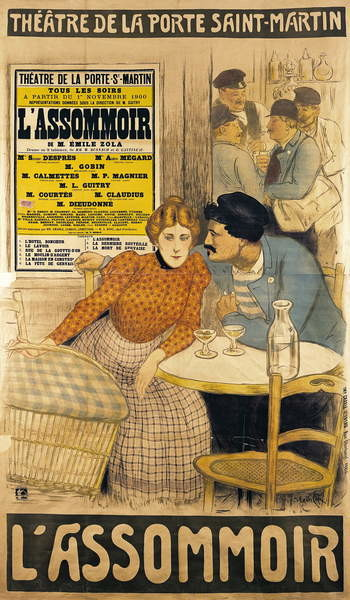 Reproducción de arte Poster advertising 'L'Assommoir' by M.M.W. Busnach and O. Gastineau at the Porte Saint-Martin Theatre, 1900