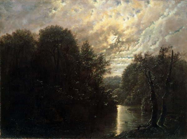 Obrazová reprodukce River Landscape in the Rosental near Leipzig