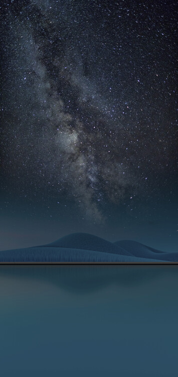 Umjetnička fotografija Scene with pool with a surreal landscape at night series 5
