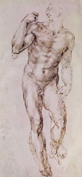Reproducción de arte Sketch of David with his Sling, 1503-4