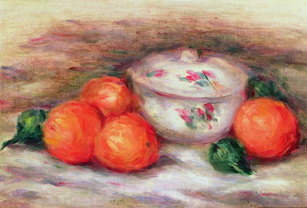 Still life with a covered dish and Oranges Kunstdruck