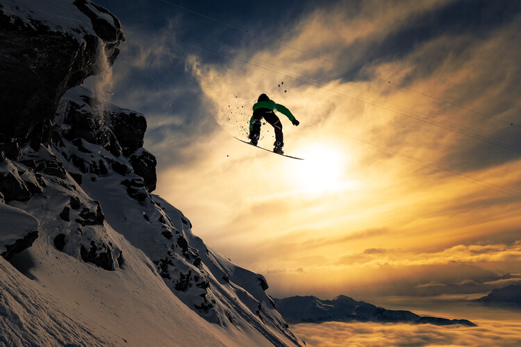 Художествена фотография Sunset Snowboarding
