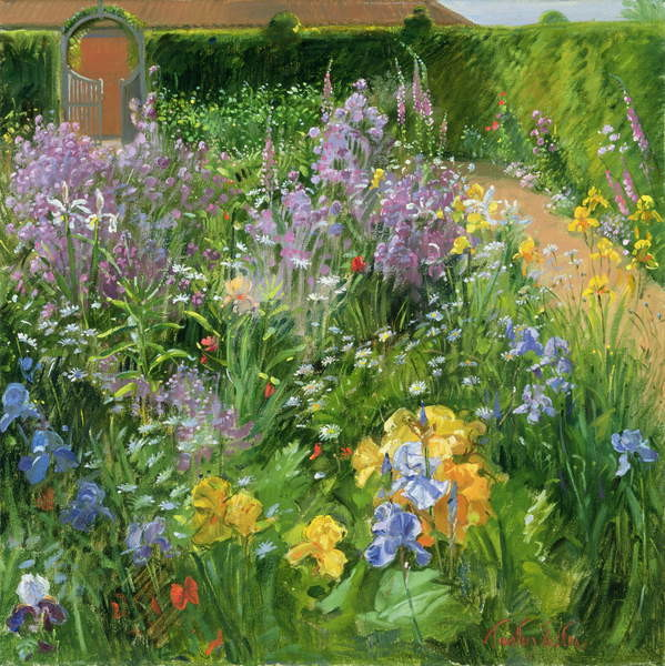 Obraz na plátně  Sweet Rocket, Foxgloves and Irises, 2000