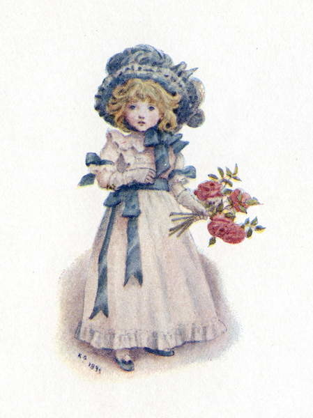 Obraz na plátně 'Taking in the roses' by Kate Greenaway.