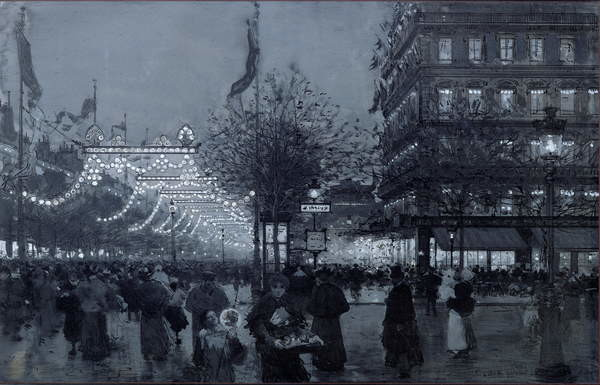 Reproducción de arte  The Grands Boulevards, Paris, decorated for the Celebration of the Franco-Russian Alliance in October 1893