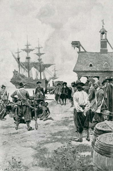 Obrazová reprodukce The Landing of Negroes at Jamestown from a Dutch Man-of-War, 1619, illustration from 'Colonies and Nation' by Woodrow Wilson, pub. in Harper's Magazine, 1901