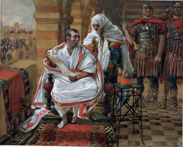 Reproducción de arte  The Message of Pilate's Wife, illustration for 'The Life of Christ', c.1886-94