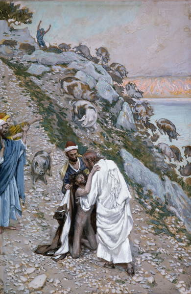 Reproducción de arte  The Swine Driven into the Sea, illustration for 'The Life of Christ', c.1886-94