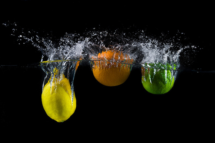 Arte fotográfico Triple citrus splash