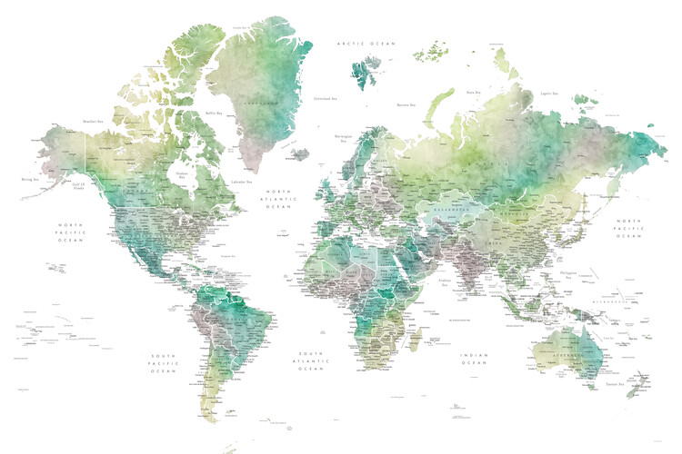 Mapa Watercolor world map with cities in muted green, Oriole