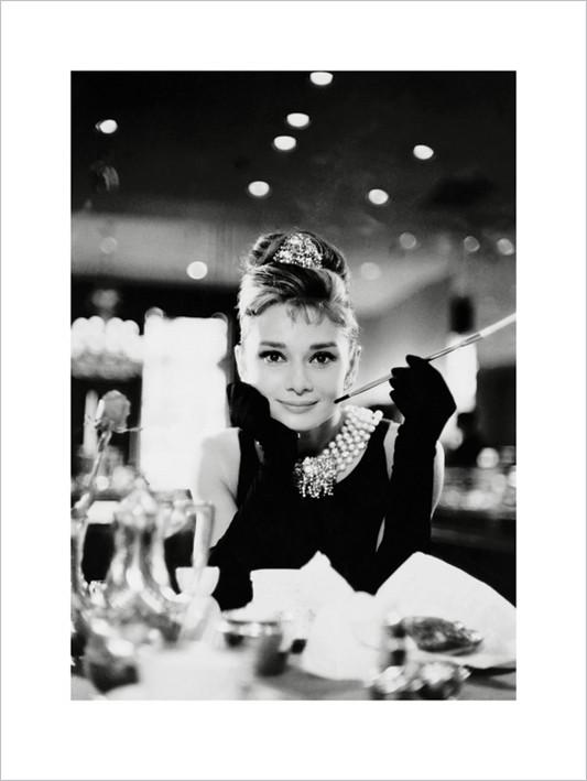 Audrey Hepburn - Tiffany b&w Festmény reprodukció