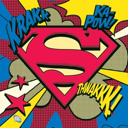 vinyl aufkleber superman pop art logo bei europosters. Black Bedroom Furniture Sets. Home Design Ideas