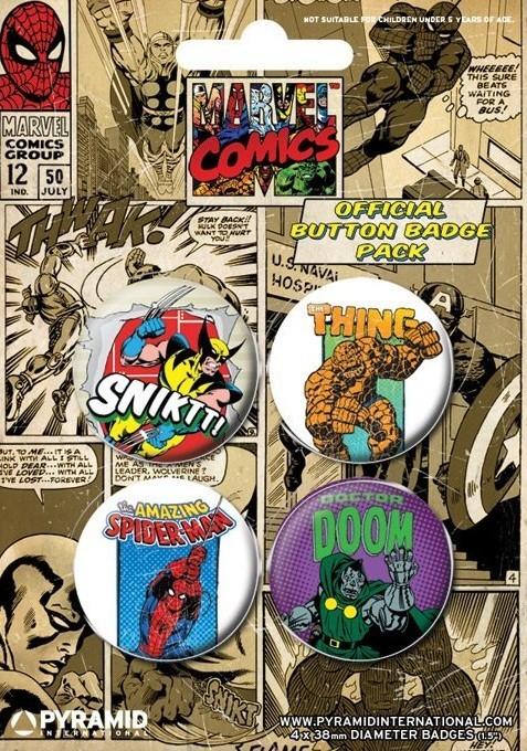 MARVEL COMICS 3 Badges pakke