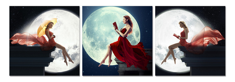 Women's profile in the moonlight Moderne bilde