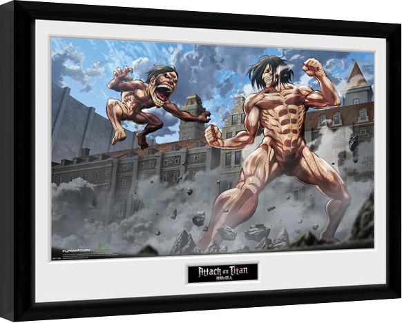 attack on titan titan fight gerahmte poster bilder kaufen bei europosters. Black Bedroom Furniture Sets. Home Design Ideas
