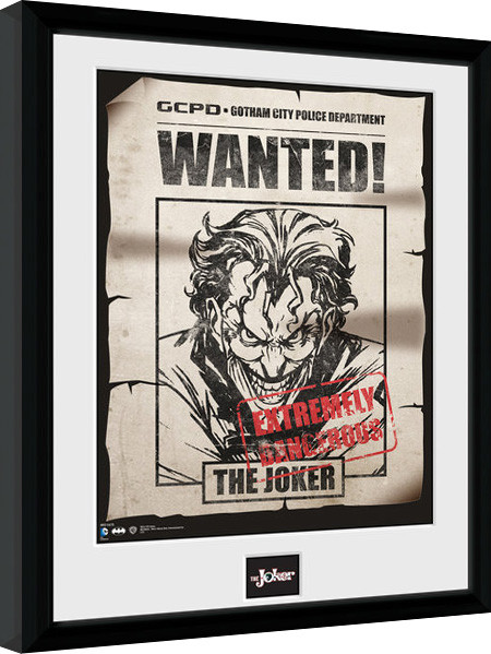 batman comic joker wanted gerahmte poster bilder kaufen bei europosters. Black Bedroom Furniture Sets. Home Design Ideas
