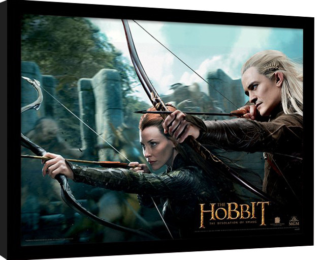 der hobbit smaugs ein de tauriel legolas gerahmte poster bilder kaufen bei europosters. Black Bedroom Furniture Sets. Home Design Ideas