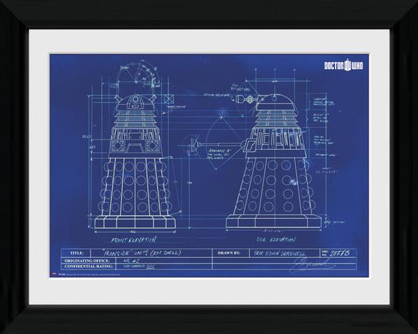 doctor who dalek blueprint gerahmte poster bilder kaufen bei europosters. Black Bedroom Furniture Sets. Home Design Ideas