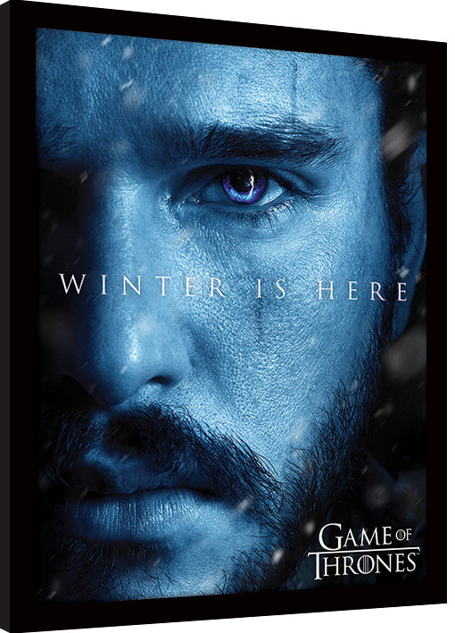 game of thrones winter is here jon gerahmte poster bilder kaufen bei europosters. Black Bedroom Furniture Sets. Home Design Ideas