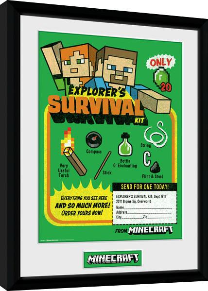 minecraft survival kit gerahmte poster bilder kaufen bei europosters. Black Bedroom Furniture Sets. Home Design Ideas