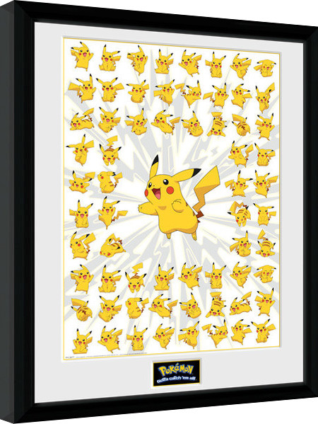 pokemon pikachu gerahmte poster bilder kaufen bei europosters. Black Bedroom Furniture Sets. Home Design Ideas