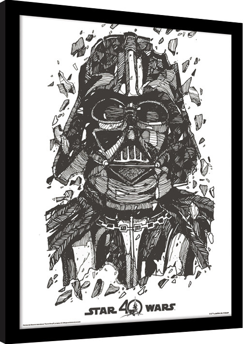 star wars 40th anniversary darth vader gerahmte poster. Black Bedroom Furniture Sets. Home Design Ideas